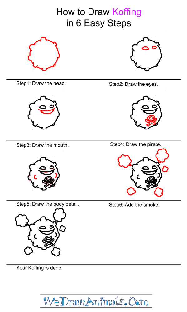 How to Draw Koffing - Step-by-Step Tutorial