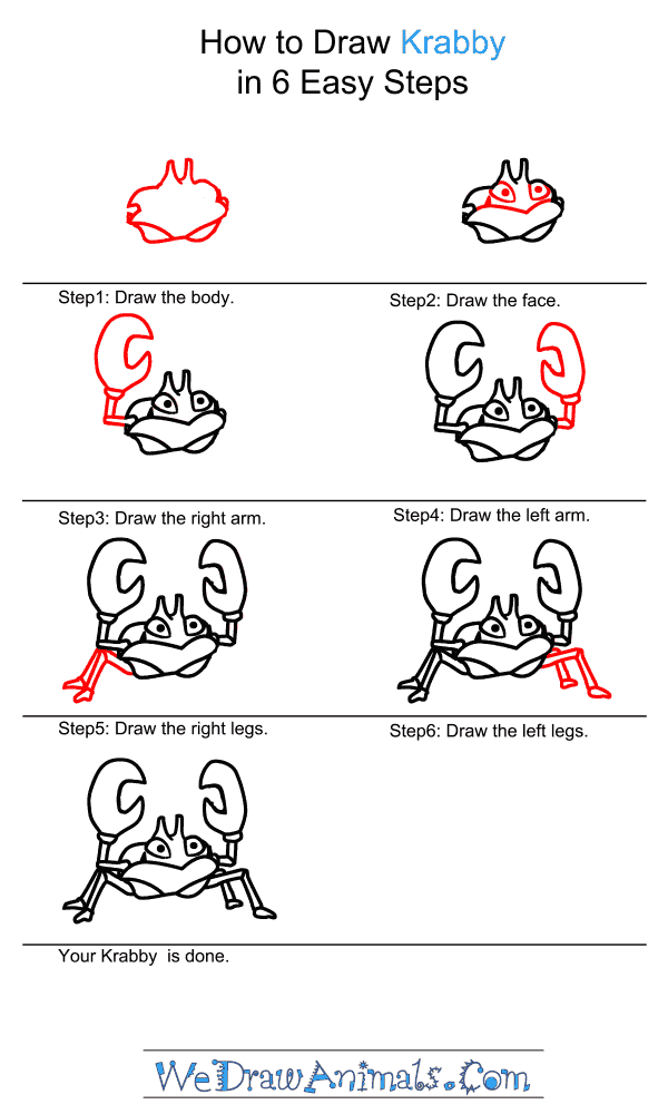 How to Draw Krabby - Step-by-Step Tutorial