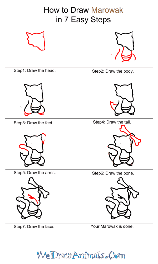 How to Draw Marowak - Step-by-Step Tutorial