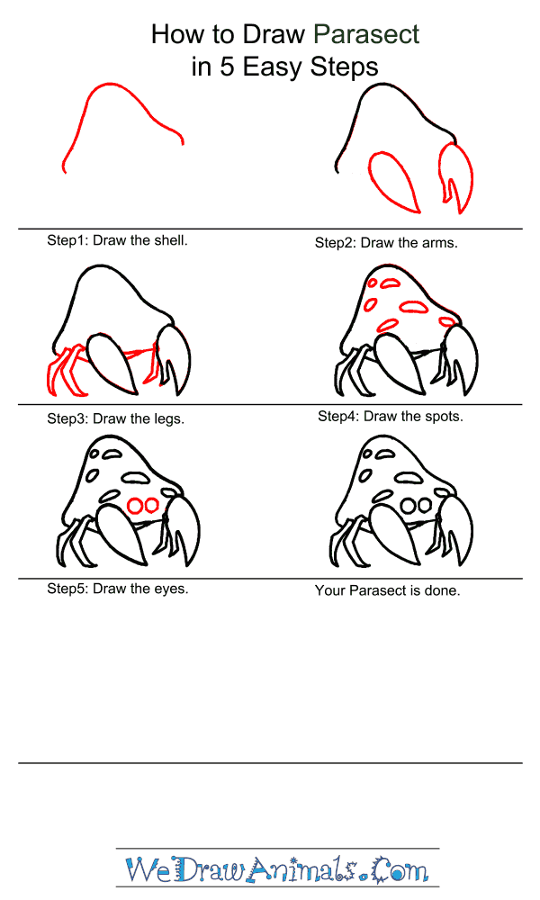 How to Draw Parasect - Step-by-Step Tutorial