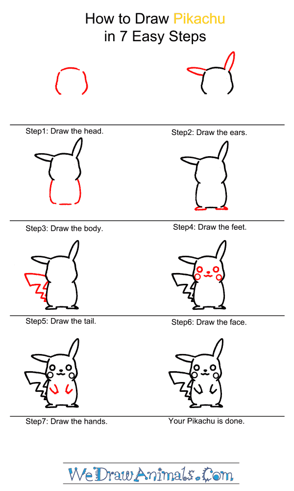 How to draw pikachu step by step tutorial
