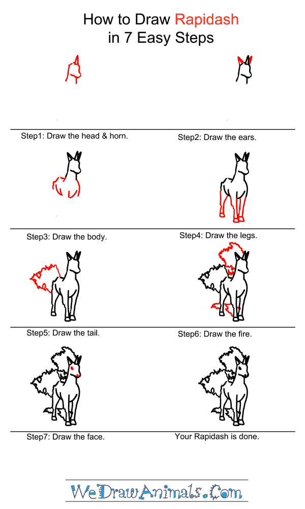How to Draw Rapidash - Step-by-Step Tutorial