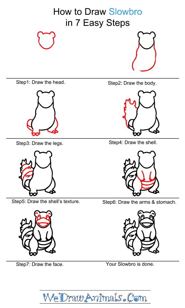 How to Draw Slowbro - Step-by-Step Tutorial