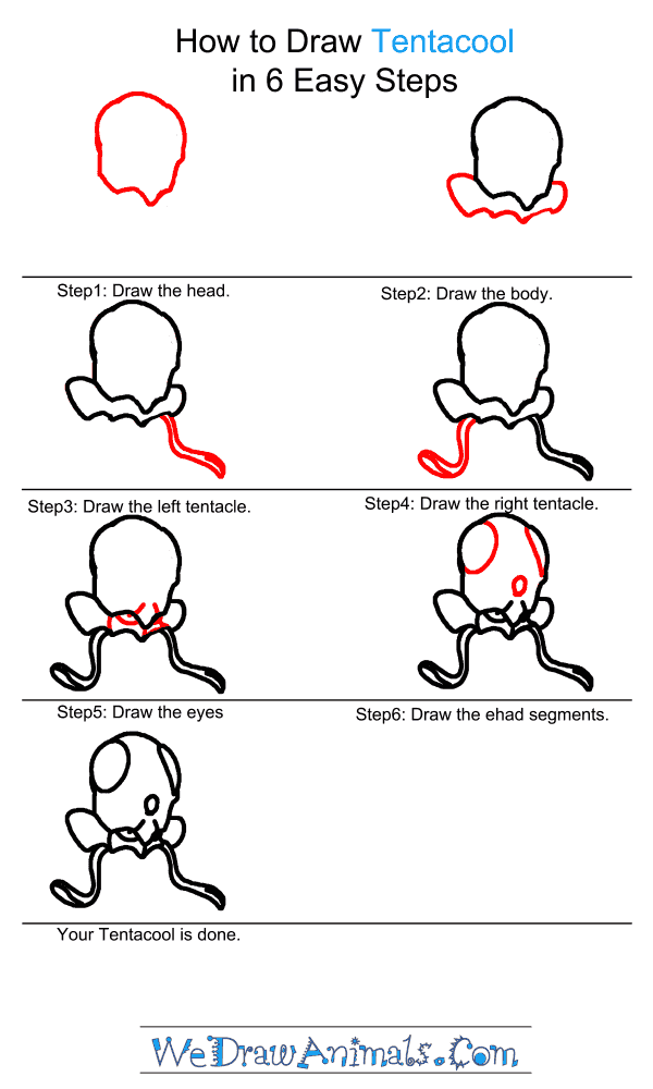 How to Draw Tentacool - Step-by-Step Tutorial