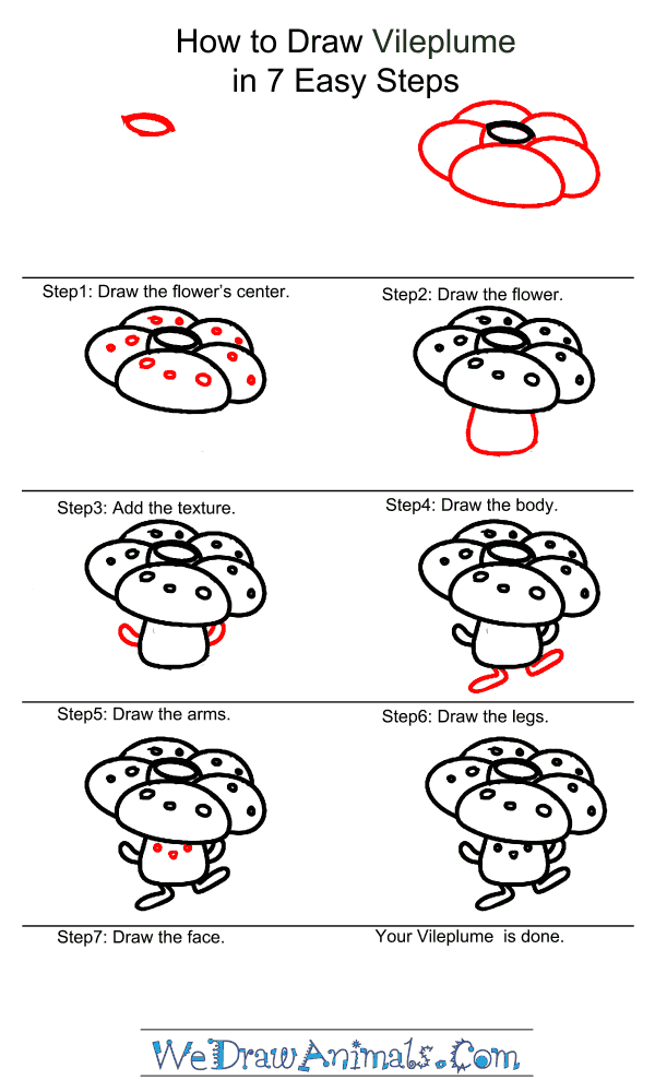 How to Draw Vileplume - Step-by-Step Tutorial
