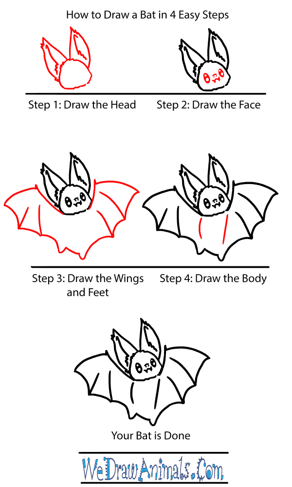 How to Draw a Baby Bat - Step-by-Step Tutorial