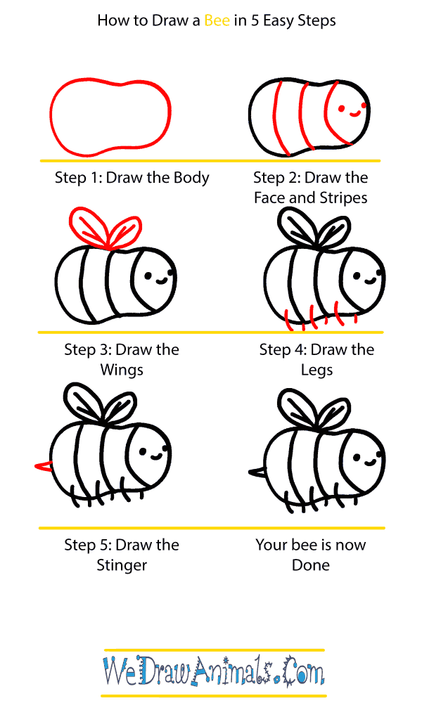 How to Draw a Baby Bee - Step-by-Step Tutorial