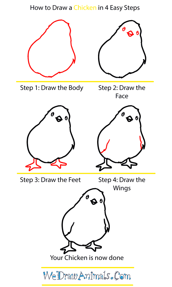 How to Draw a Baby Chicken - Step-by-Step Tutorial