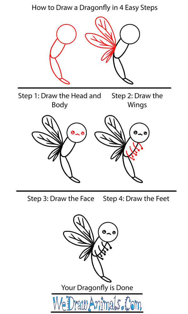 How to Draw a Baby Dragonfly - Step-by-Step Tutorial