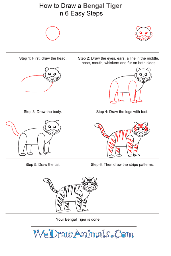 How to Draw a Bengal Tiger for Kids - Step-by-Step Tutorial
