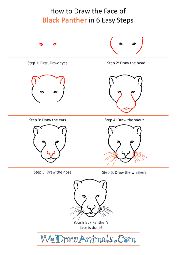 How to Draw a Black Panther Face - Step-by-Step Tutorial