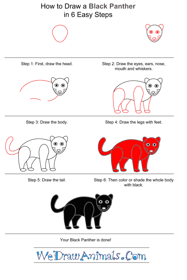 How to Draw a Black Panther for Kids - Step-by-Step Tutorial