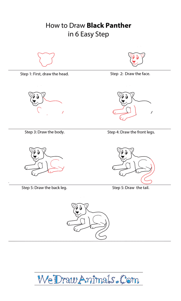 How to Draw a Cartoon Black Panther - Step-by-Step Tutorial