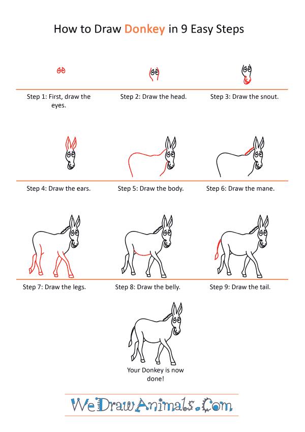 How to Draw a Cartoon Donkey - Step-by-Step Tutorial