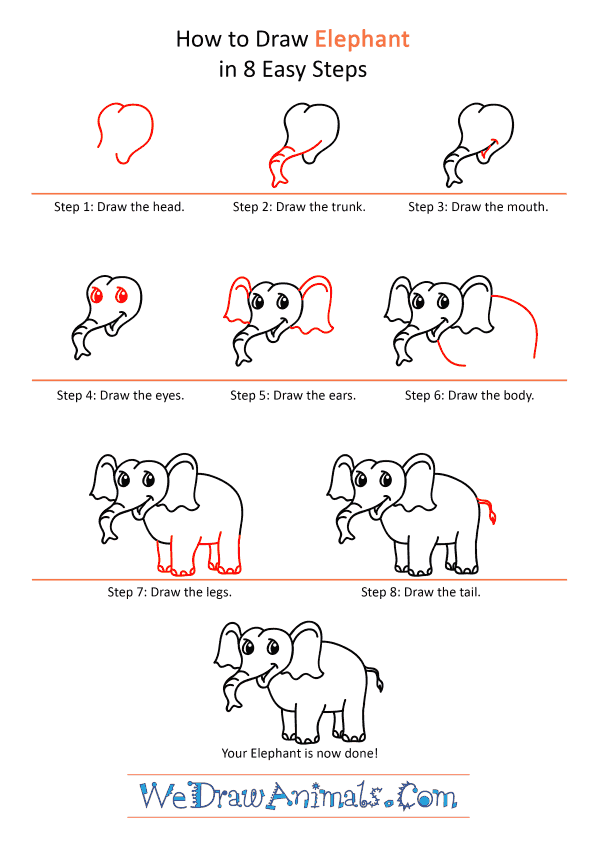 How to Draw a Cartoon Elephant - Step-by-Step Tutorial