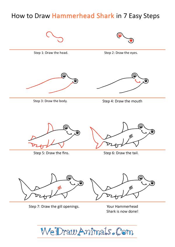 How to Draw a Cartoon Hammerhead Shark - Step-by-Step Tutorial