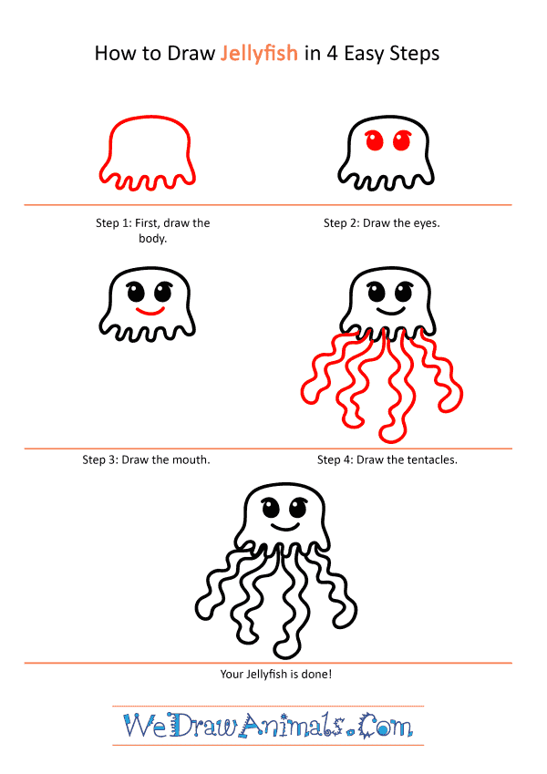How to Draw a Cartoon Jellyfish - Step-by-Step Tutorial