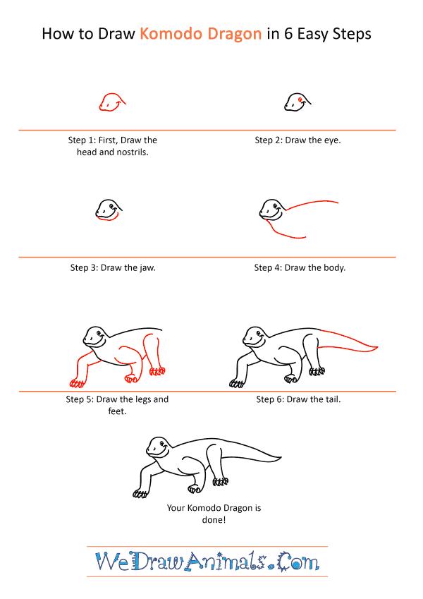 How to Draw a Cartoon Komodo Dragon - Step-by-Step Tutorial