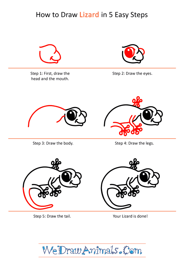 How to Draw a Cartoon Lizard - Step-by-Step Tutorial