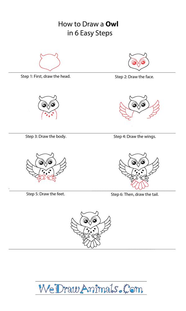 How to Draw a Cartoon Owl - Step-by-Step Tutorial