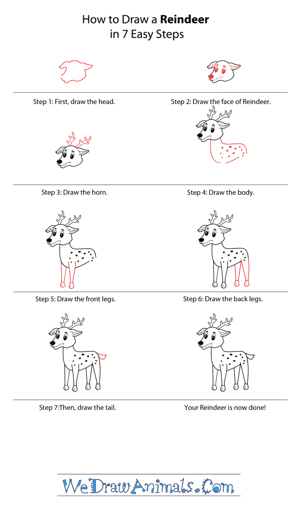 How to Draw a Cartoon Reindeer - Step-by-Step Tutorial
