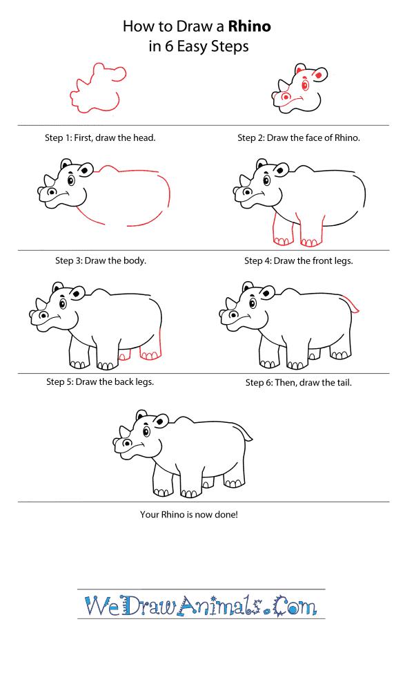 How to Draw a Cartoon Rhino - Step-by-Step Tutorial