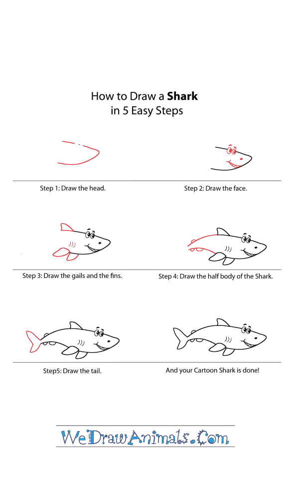 How to Draw a Cartoon Shark - Step-by-Step Tutorial