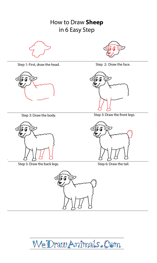 How to Draw a Cartoon Sheep - Step-by-Step Tutorial