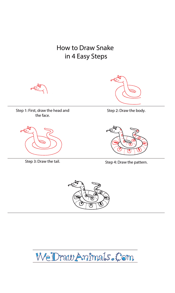 How to Draw a Cartoon Snake - Step-by-Step Tutorial