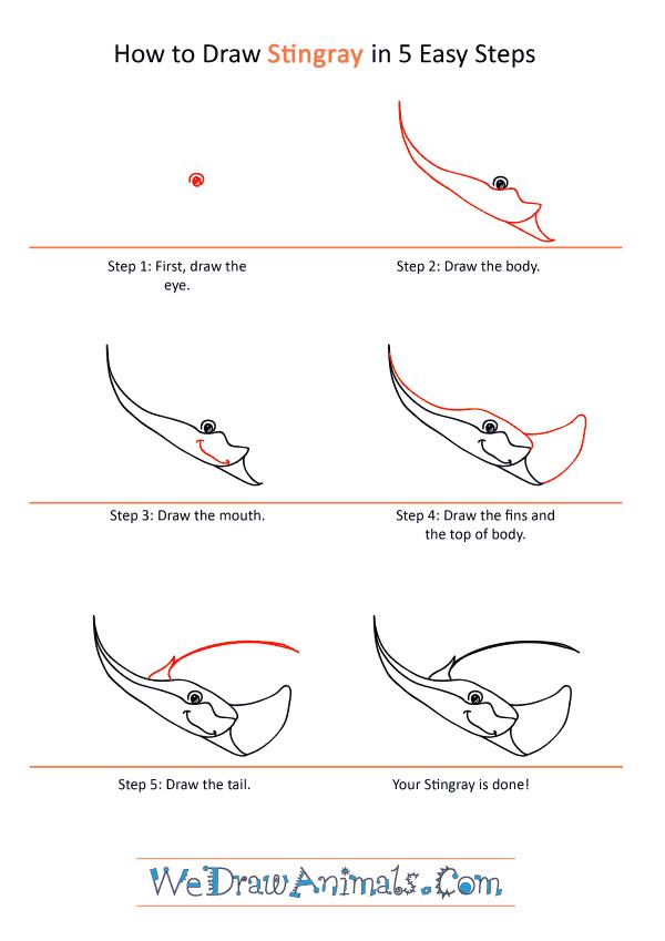 How to Draw a Cartoon Stingray - Step-by-Step Tutorial