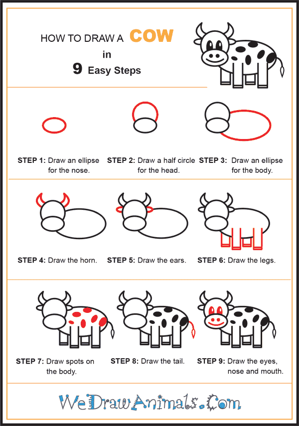 How to Draw a Cow for Kids - Step-by-Step Tutorial
