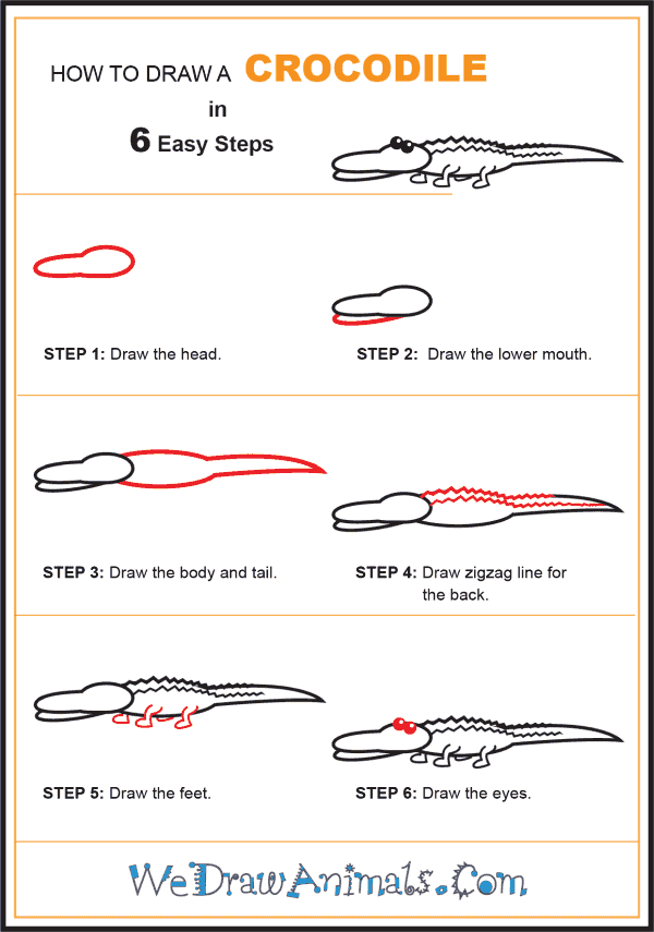How to Draw a Crocodile for Kids - Step-by-Step Tutorial