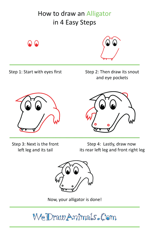How to Draw a Cute Alligator - Step-by-Step Tutorial