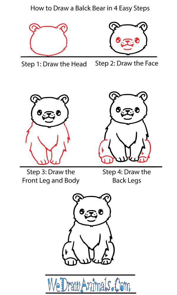 How to Draw a Cute Black Bear - Step-by-Step Tutorial