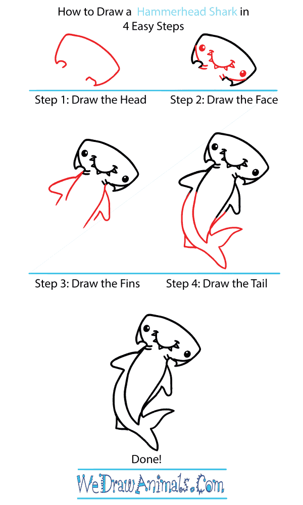 How to Draw a Cute Hammerhead Shark - Step-by-Step Tutorial