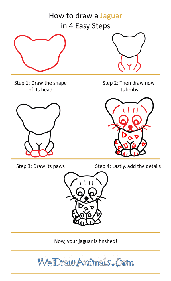 How to Draw a Cute Jaguar - Step-by-Step Tutorial