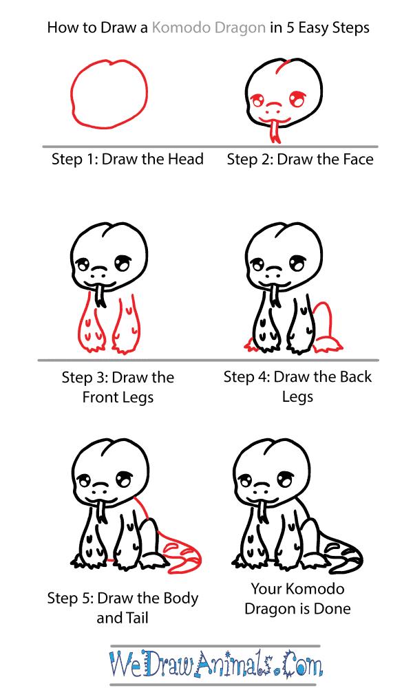 How to Draw a Cute Komodo Dragon - Step-by-Step Tutorial