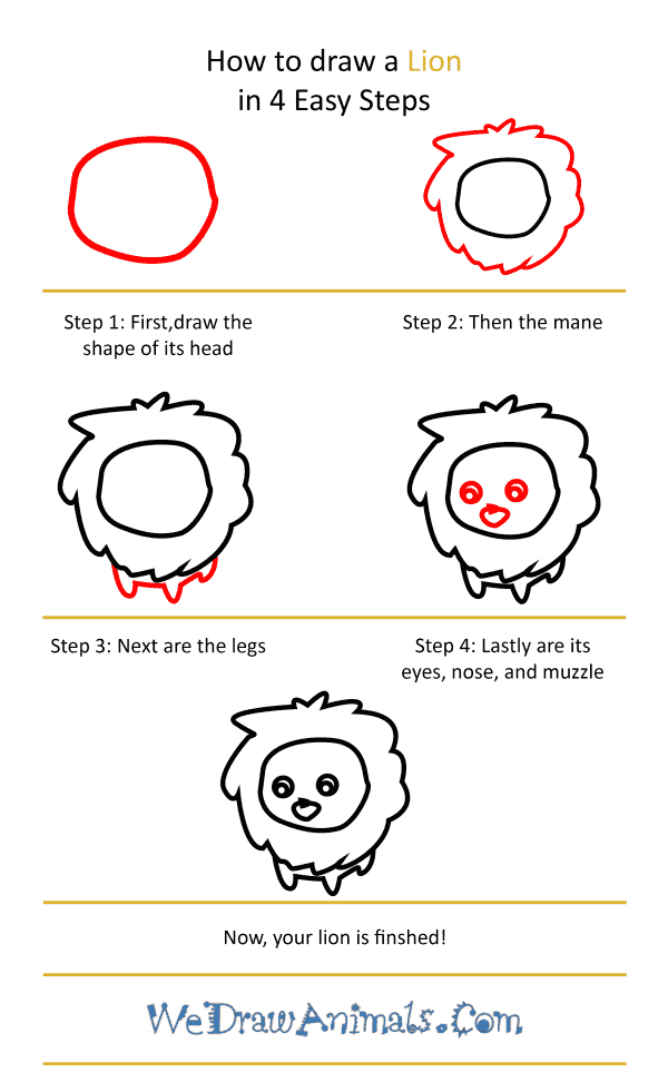 How to Draw a Cute Lion - Step-by-Step Tutorial