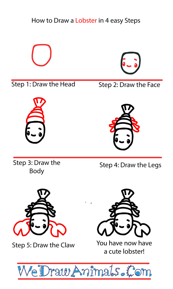 How to Draw a Cute Lobster - Step-by-Step Tutorial