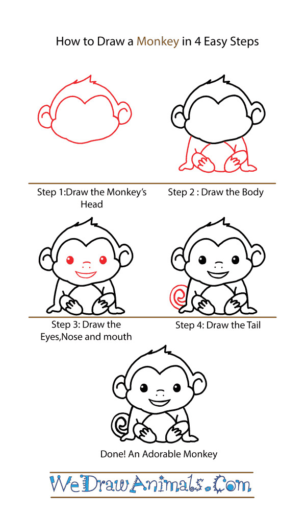 How to Draw a Cute Monkey - Step-by-Step Tutorial