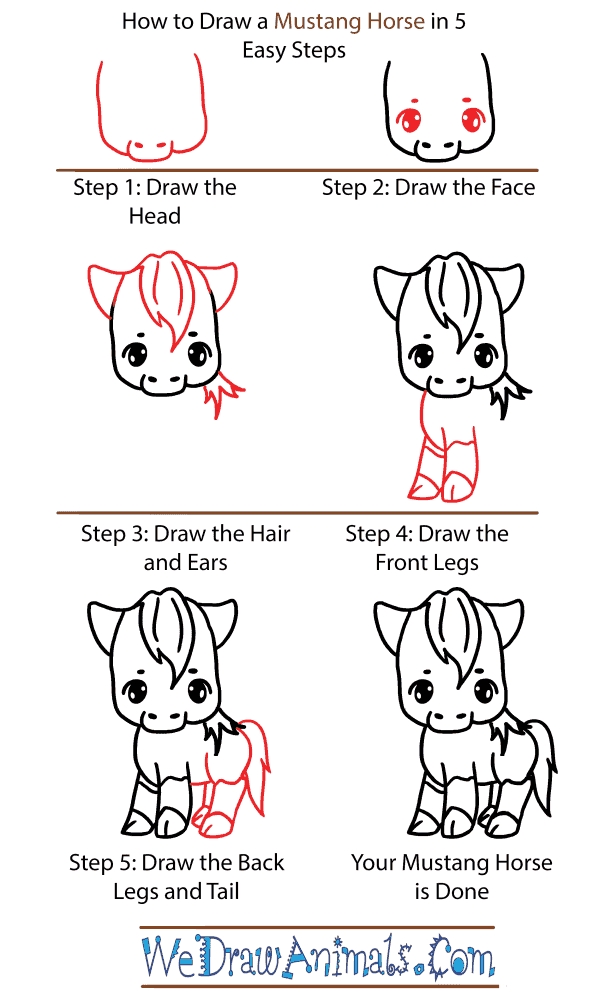 How to Draw a Cute Mustang Horse - Step-by-Step Tutorial