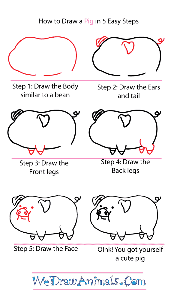How to Draw a Cute Pig - Step-by-Step Tutorial