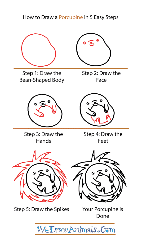 How to Draw a Cute Porcupine - Step-by-Step Tutorial