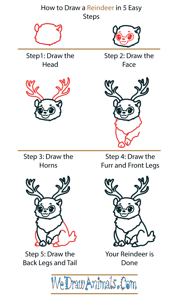 How to Draw a Cute Reindeer - Step-by-Step Tutorial