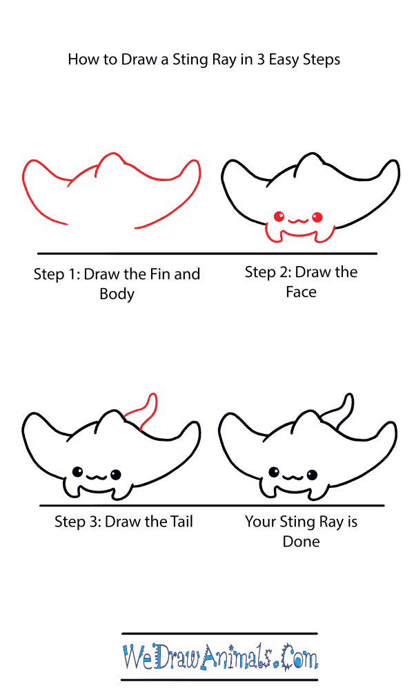 How to Draw a Cute Stingray - Step-by-Step Tutorial