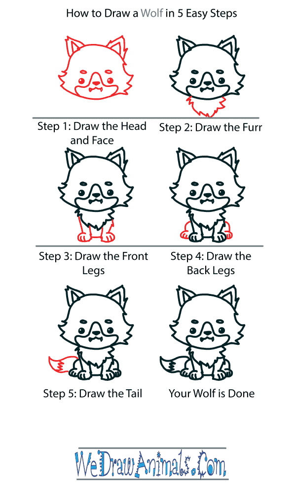 How to Draw a Cute Wolf - Step-by-Step Tutorial