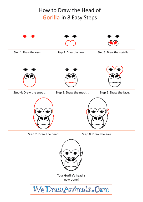 How to Draw a Gorilla Face - Step-by-Step Tutorial