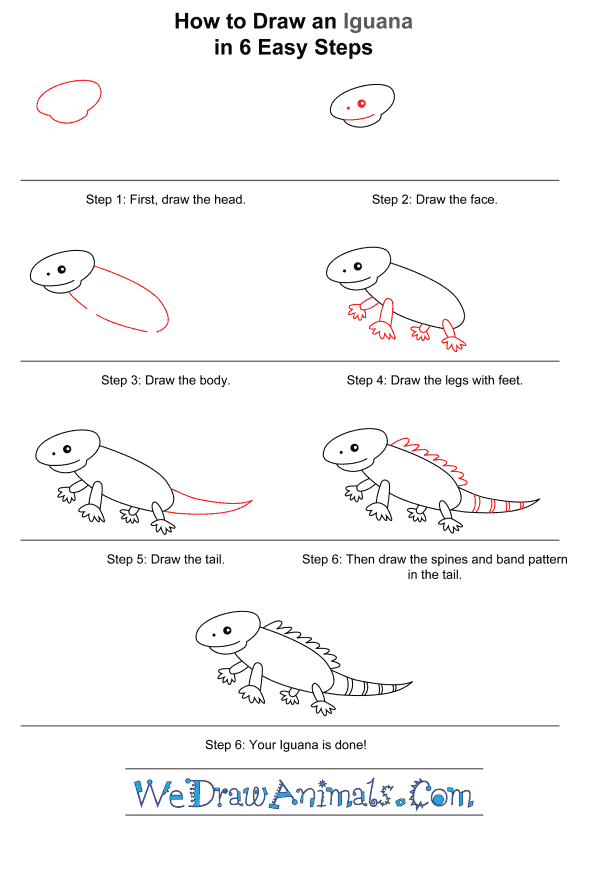 How to Draw an Iguana for Kids - Step-by-Step Tutorial