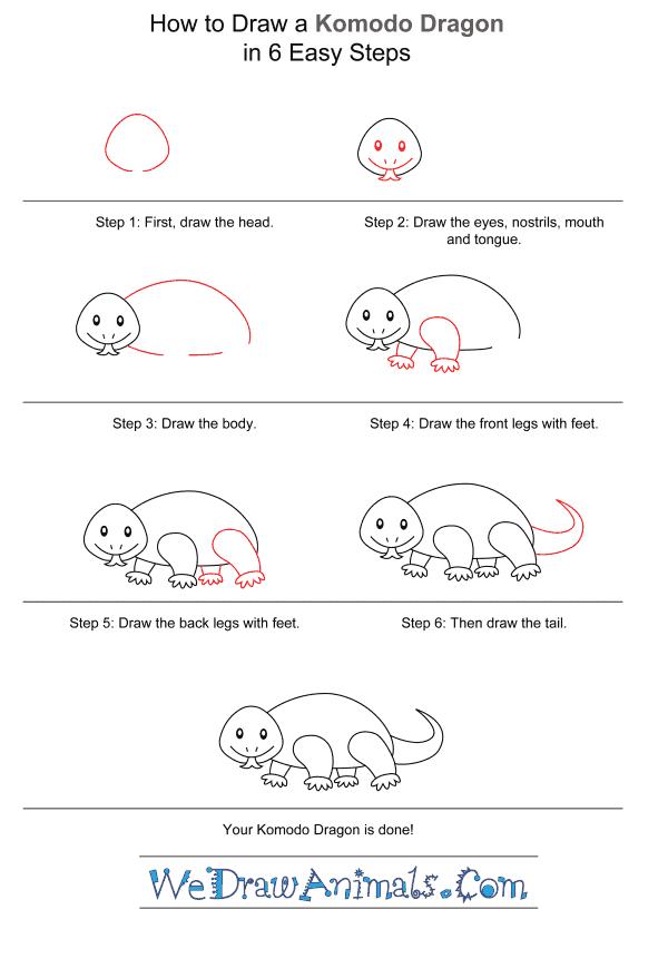How to Draw a Komodo Dragon for Kids - Step-by-Step Tutorial