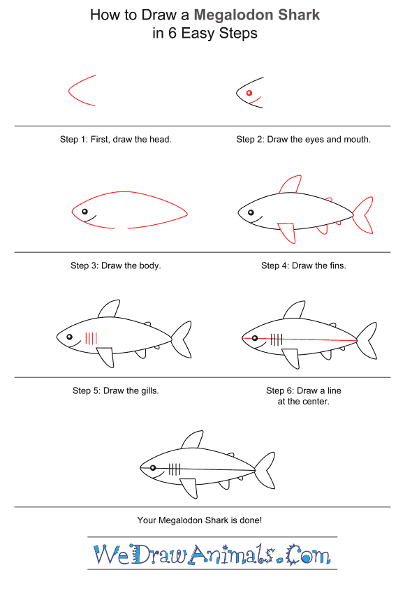 How to Draw a Megalodon Shark for Kids - Step-by-Step Tutorial